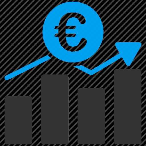 bar chart, business, euro, european, financial, growth, report icon