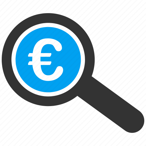 analytics, audit, euro, european, explore, financial, inspect icon
