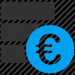 data, database, euro, european, money, repository, storage icon