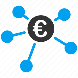 bank branches, connections, euro, european, links, network, payments icon