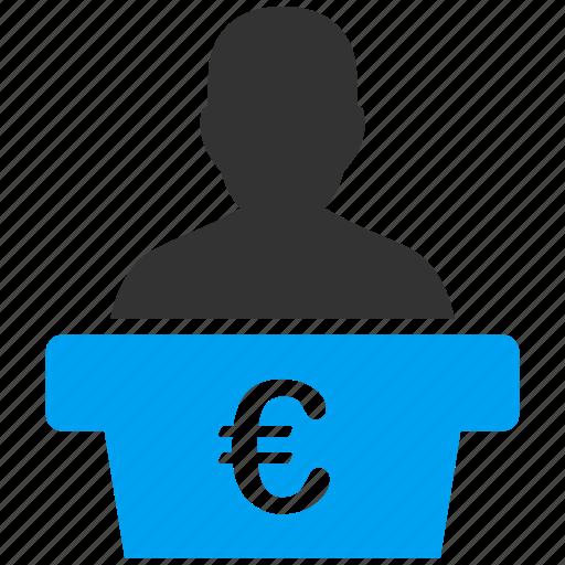 euro, european, lecturer, orator, politician, speaker, teacher icon