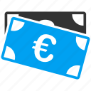 banknotes, cash, commerce, currency, euro, european, money icon