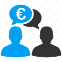business, chat, commerce, communication, euro, european, talk icon