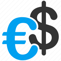 business, commerce, currency, dollar, euro, european, fiat money icon