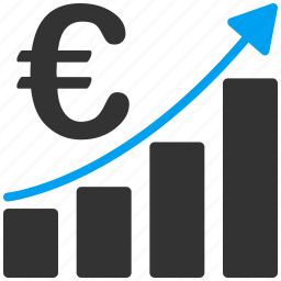 bar, business, commerce, euro, european, financial report, sales chart icon