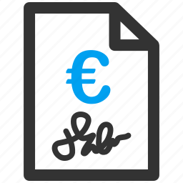 agreement, bill, business, contract, euro, european, invoice icon