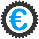 business, commerce, euro, european, reward, sertified, stamp icon