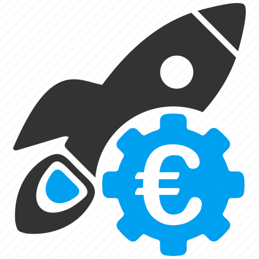 business project, euro, european, rocket launch, startup, technology, venture company icon