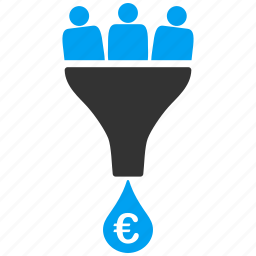 business, commerce, conversion, euro, european, gain, sales funnel icon