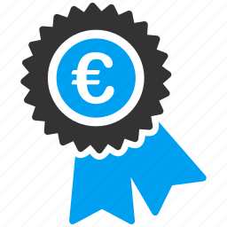 business, commerce, euro, european, financial, stamp, warranty seal icon