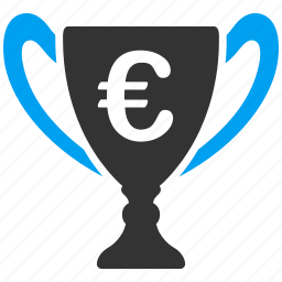 award cup, business, commerce, euro, european, prize, winner icon