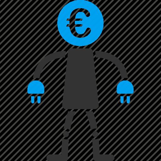 android, electronic, euro, european, machine, robot, technology icon