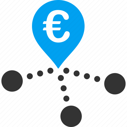 bank, branches, distribution, euro, european, map marker, network icon