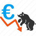 bear, chart, crisis, euro, european, market, stock icon