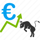 bull, chart, euro, european, growth, stock market, trend icon