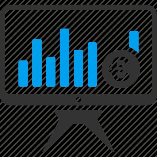 analytics, bar chart, diagram, euro, european, graph, statistics icon