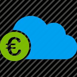 banking, cloud, euro, european, online, server, web icon