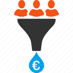business, conversion, euro, european, filter, financial effect, sales funnel icon
