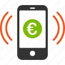 balance, deposit, euro, european, income, mobile, payment icon