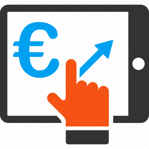 analytics, euro, european, market, mobile, stock, tablet icon