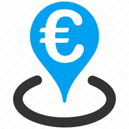 bank, euro, european, finance, geo targeting, location, map marker icon