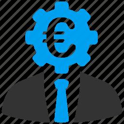 banker, clerk, commersant, economist, euro, european, finance icon
