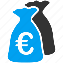 capital, euro, european, finance, financial, funds, money bags icon