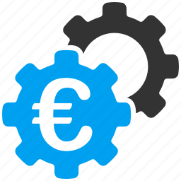 euro, european, finance, gears, industrial, industry, transaction icon