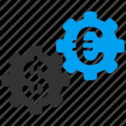 configuration, cooperation, euro, european, finance, integration, mechanics icon