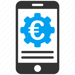 banking, configuration, euro, european, finance, mobile bank, phone icon