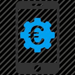 euro, european, finance, mobile, options, settings, technology icon