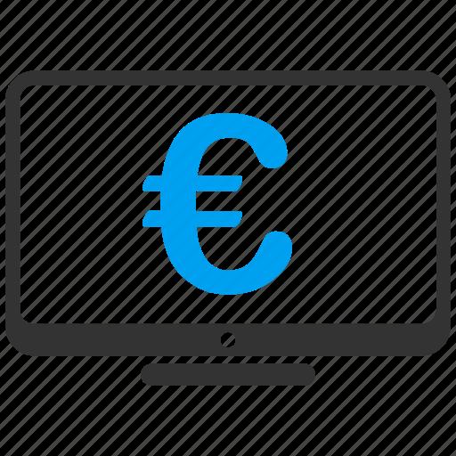 computer, display, euro, european, finance, monitor, screen icon