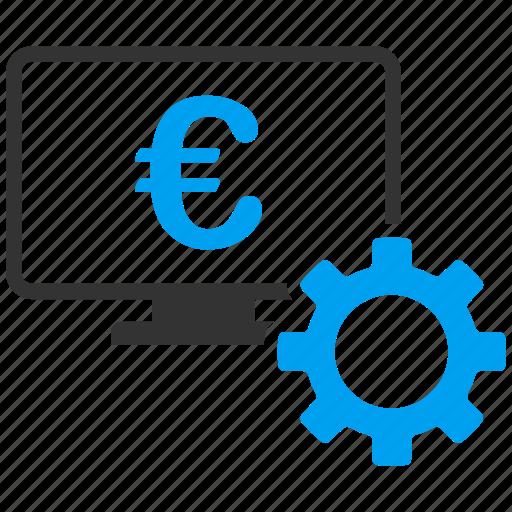 banking, business, cogwheel, gear, money, monitor, online bank icon