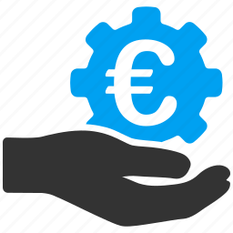 euro, european, finance, hand, offer, salary, service icon