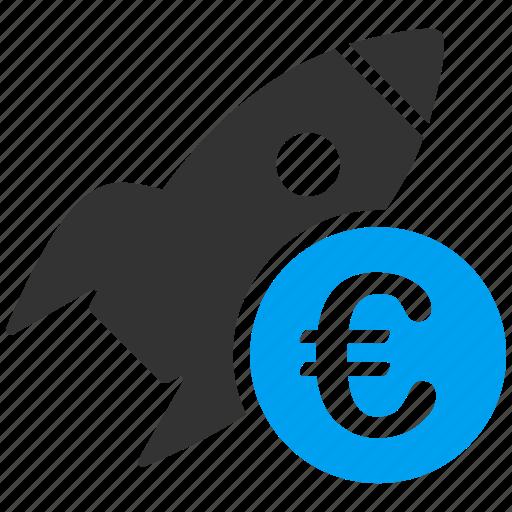 euro, european, finance, rocket science, startup, success, technology icon