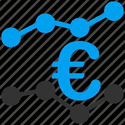 analysis, analytics, charts, euro, european, stock market, trends icon