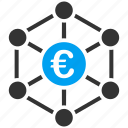 bank network, banking activity, business center, connections, euro, marketing, money transactions icon