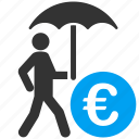care, euro, financial insurance, protection, safety, security, umbrella icon