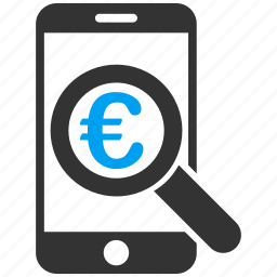 audit, euro, financial audit, magnifying glass, mobile, research, search icon