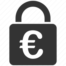 euro, locked, password, private, protection, safe, safety lock icon