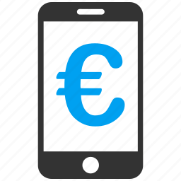 business, euro, european, mobile, payment, shopping icon