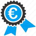 business, euro, european, quarantee, seal, shopping icon