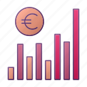 analytics, chart, diagram, euro, graph, seo icon