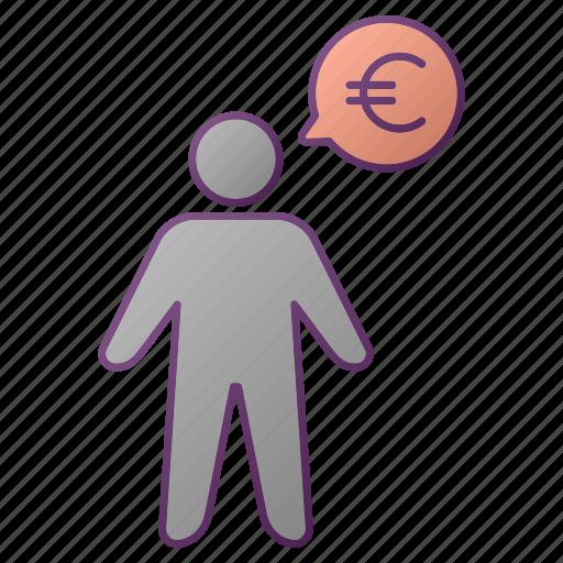 analytics, chart, euro, graph, men, person, seo icon