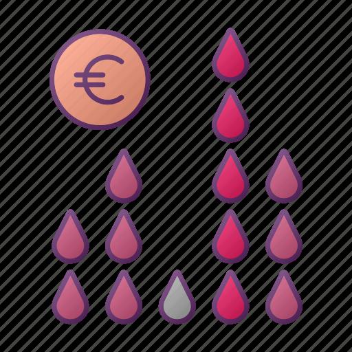 analytics, chart, euro, finance, graph, oil, seo icon