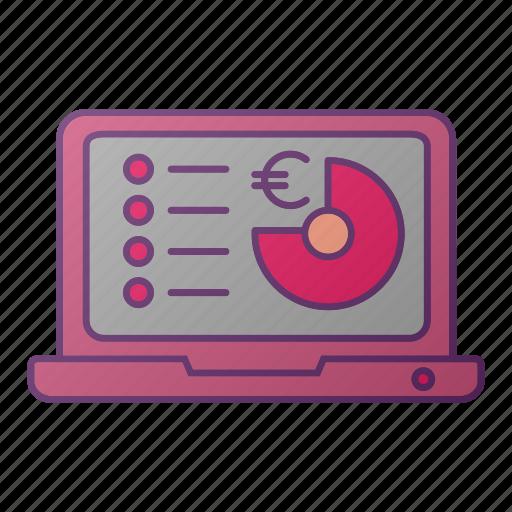 analytics, chart, computer, euro, graph, pc, seo icon