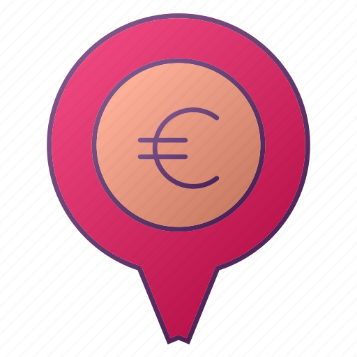 analytics, bank, euro, graph, location, pin, seo icon