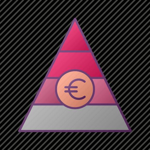 analytics, chart, euro, graph, piramid, seo icon