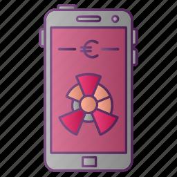 analytics, chart, diagram, euro, graph, seo, smartphone icon