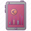 analytics, chart, euro, graph, money, seo, tablet icon